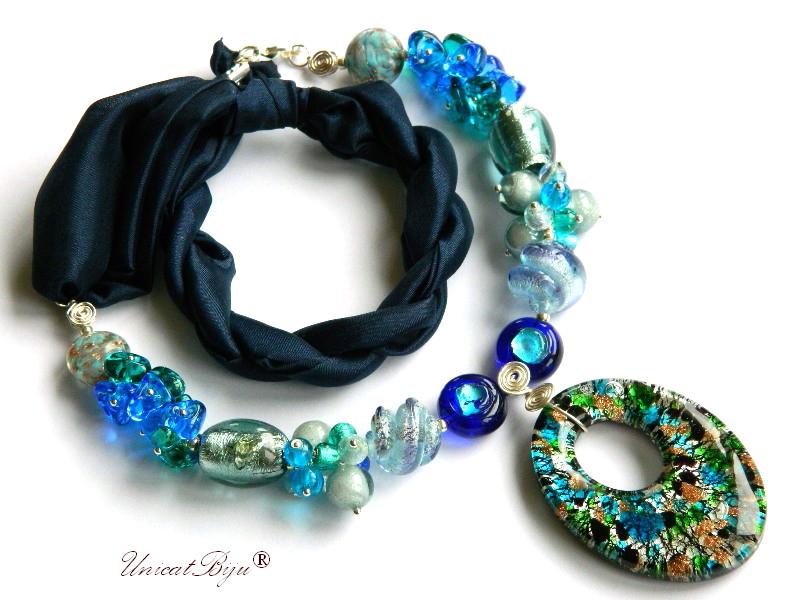 colier perle murano, bijuterii matase naturala, perle foita argint, albastru, verde, unicatbiju