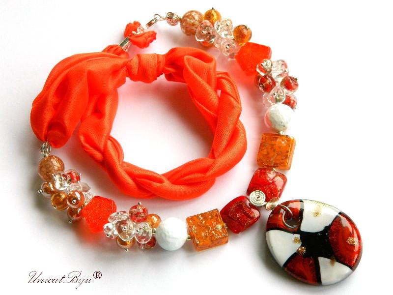 colier perle murano, bijuterii matase naturala, perle foita argint, orange, alb, unicatbiju