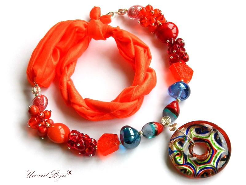 colier perle murano, bijuterii matase naturala, perle foita argint, orange, albastru, unicatbiju