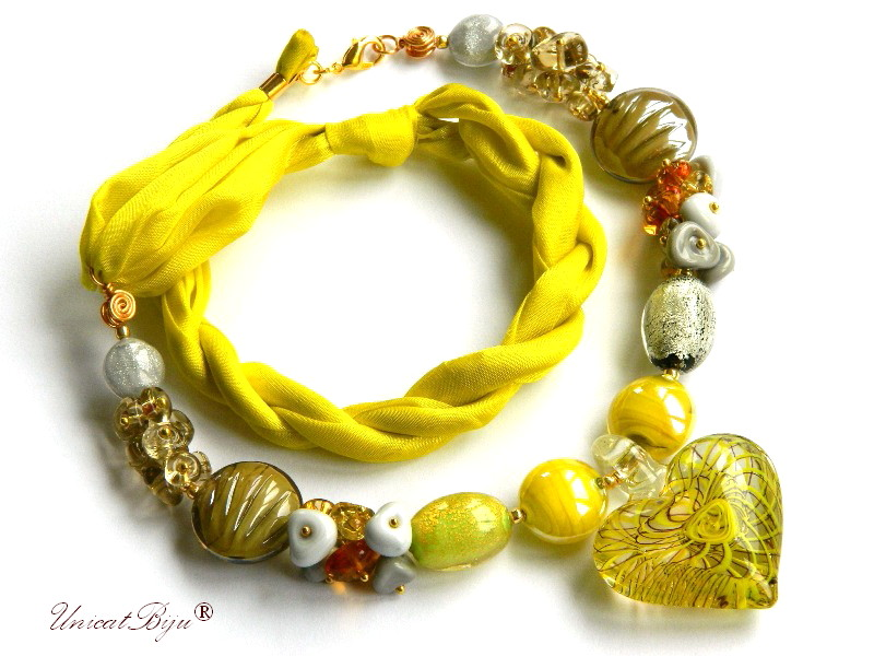 colier perle murano, bijuterii matase naturala, perle foita aur, galben, unicatbiju
