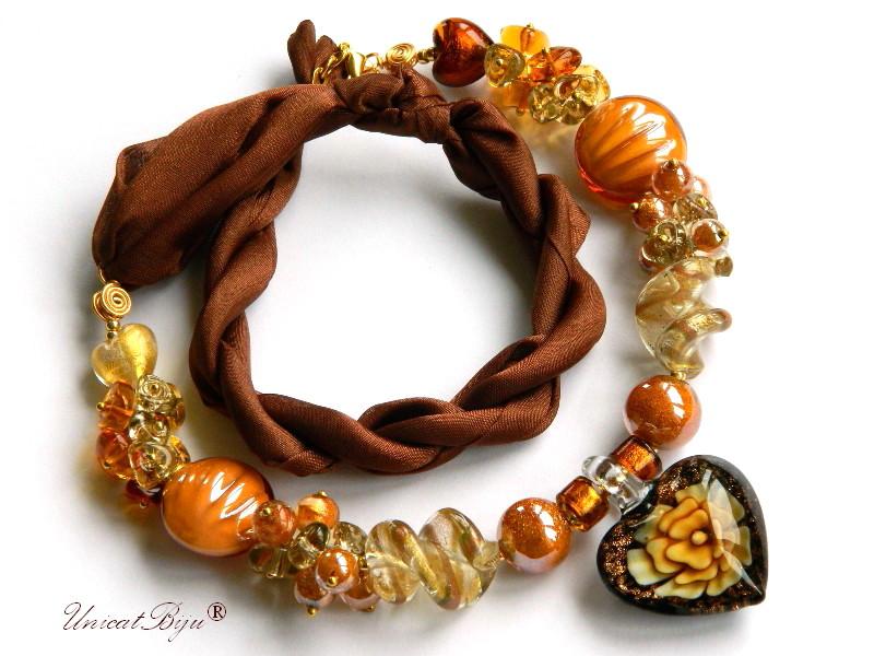 colier perle murano, bijuterii matase naturala, perle foita aur, maro, ambra, unicatbiju