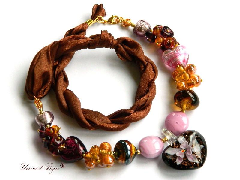 colier perle murano, bijuterii matase naturala, perle foita aur, mov, roz, unicatbiju