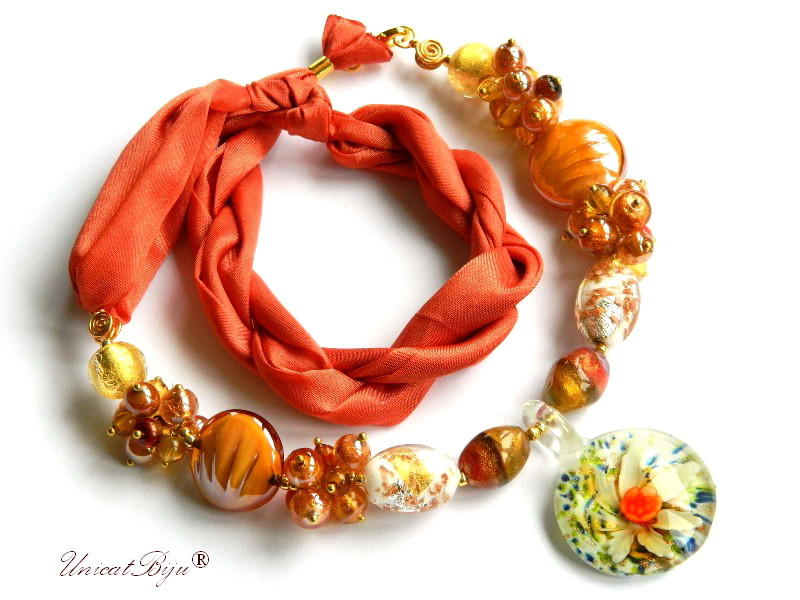 colier perle murano, bijuterii matase naturala, perle foita aur, orange, aurit, unicatbiju