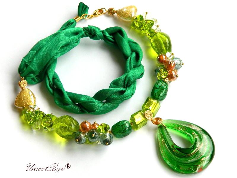 colier perle murano, bijuterii matase naturala, perle foita aur, verde, auriu, unicatbiju