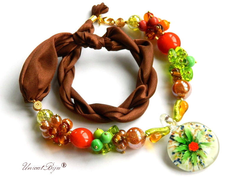 colier perle murano, bijuterii matase naturala, perle foita aur, verde, orange, unicatbiju