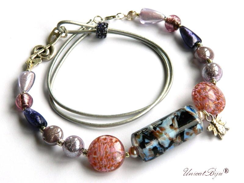 colier perle murano, bijuterii statement, albina argintata, mov roz, perle foita argint, piele naturala, unicatbiju