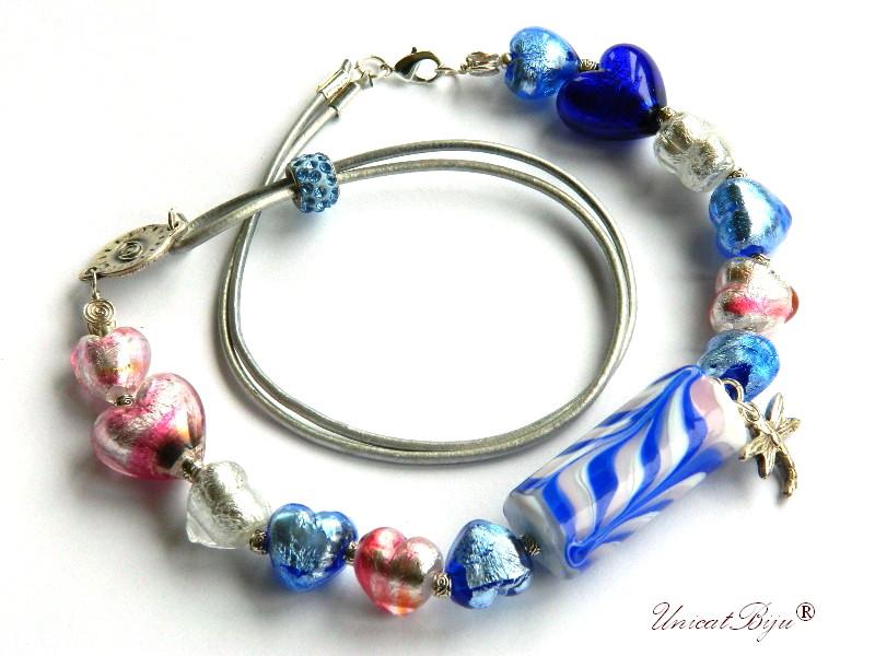 colier perle murano, bijuterii statement, argintat, bleu, roz, perle foita argint, piele naturala, unicatbiju