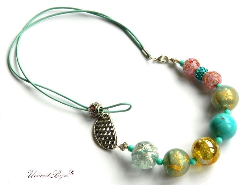 colier perle murano, bijuterii statement, argintat, turcoaz, perle foita aur, piele naturala, unicatbiju