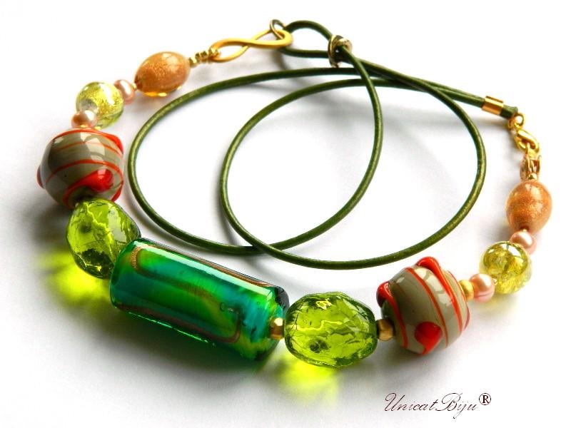 colier perle murano, bijuterii statement, aurit, verde. orange, perle foita aur, piele naturala, unicatbiju