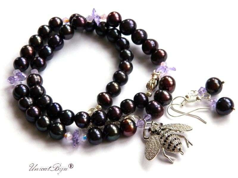 colier perle negre, bijuterii semipretioase unicat, albina cristale, cristale swarovski, sidef natural, unicatbiju, statement