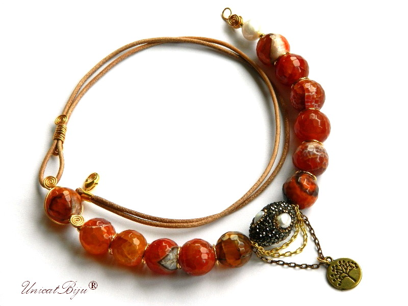 colier statement, agat masiv, orange, bijuterii semipretioase unicat, perle cultura, copacul vietii, bronz, unicatbiju