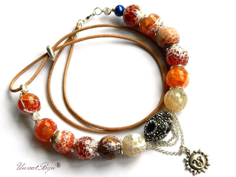 colier statement, agat masiv orange, soare argintat, rhinestone, perle cultura, piele naturala, unicatbiju