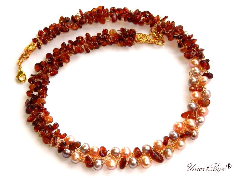 colier statement, granat orange, perle cultura, bijuterii semipretioase unicat, sidef natural, unicatbiju, bijuterii de seara