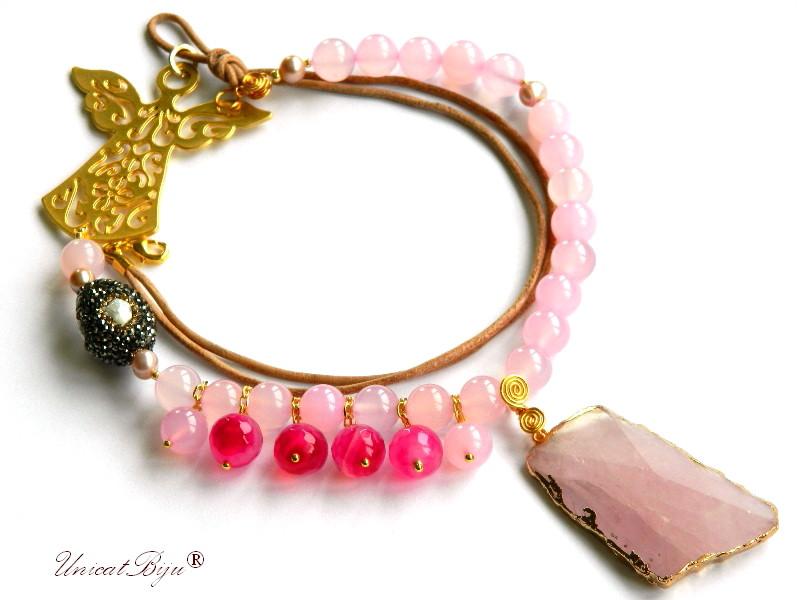colier statement, inger aurit masiv, cuart roz, agat roz, perle, sidef natural, bijuterii semipretioase unicat, rhinestone, unicatbiju