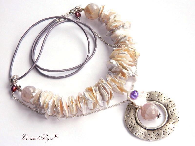 colier statement, perle keishi, bijuterii semipretioase unicat, agat roz, morganite, unicatbiju, perle cultura, sidef natural