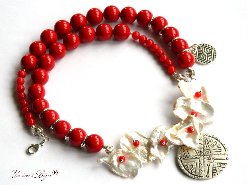 colier statement, perle mallorca rosii, bijuterii semipretioase unicat, perlre keishi, coral, salba argintata, unicatbiju