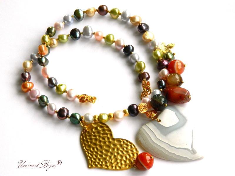 colier statement, perle multicolor, sidef natural, bijuterii semipretioase unicat, inima aurita, unicatbiju