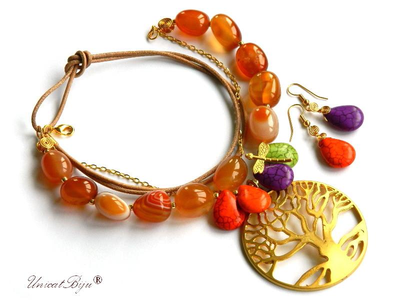 colier carneol, copacul vietii aurit, bijuterii semipretioase unicat, magnezit multicolor, libelula aurita, unicatbiju