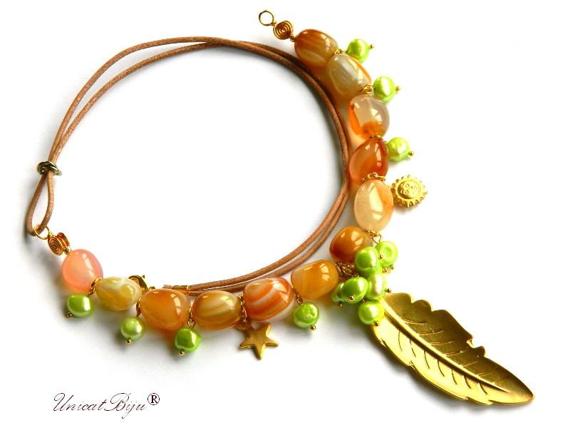 colier carneol, perle verzi, sidef natural, bijuterii semipretioase unicat, frunza aurita, soare, stea, piele naturala, unciatbiju