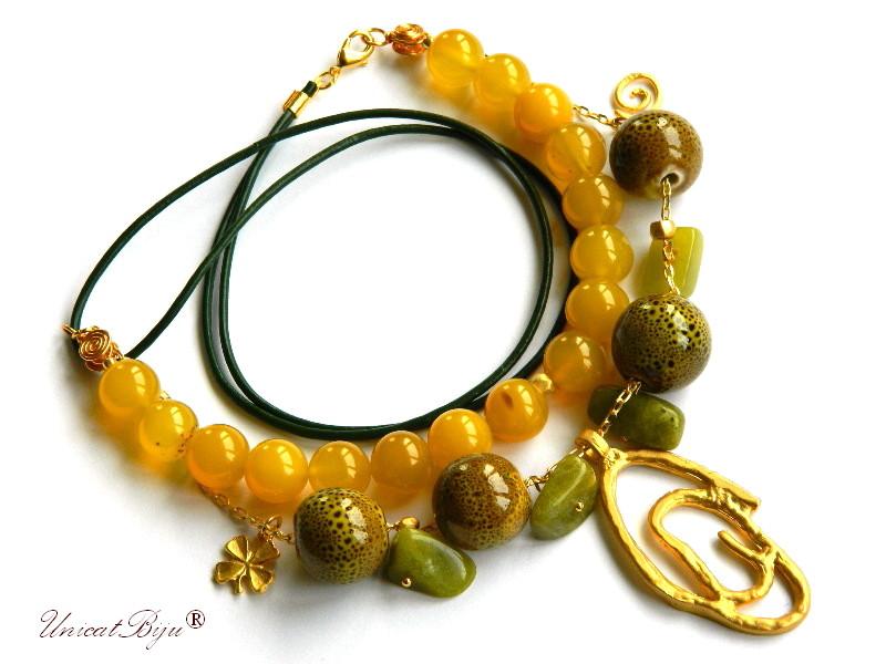 colier jad galben, ceramica pictata manual, trifoi aurit, bijuterii semipretioase unicat, jad canadian, unicatbiju