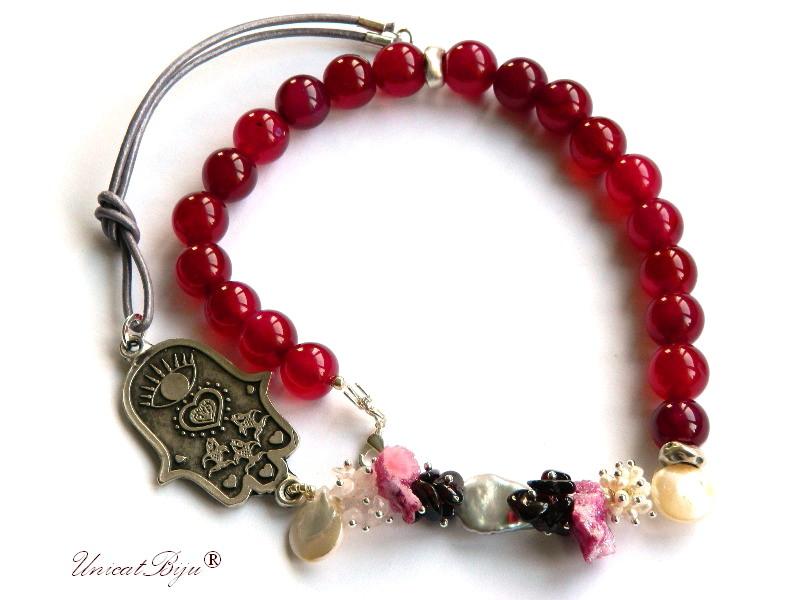 colier jad rosu, pirite, granat, bijuterii semipretioase unicat, perle biwa, sidef natural, fatima argintata, unicatbiju
