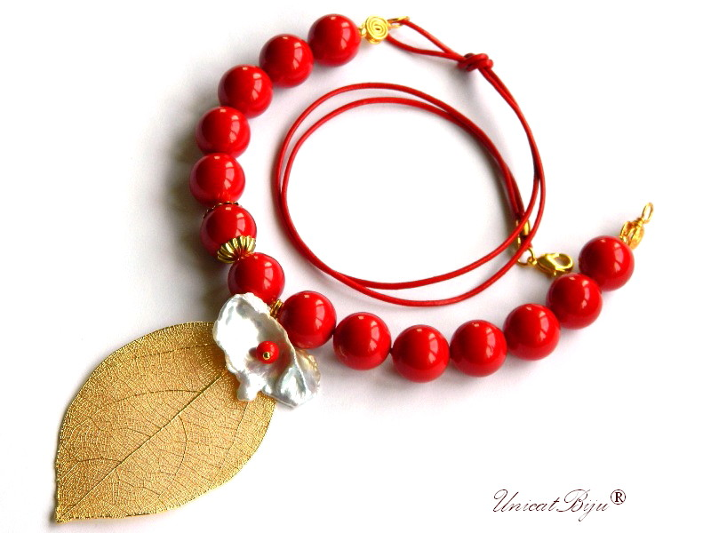 colier perle mallorca mari, statement, bijuterii semipretioase, perle keishi, coral rosu, unicatbiju