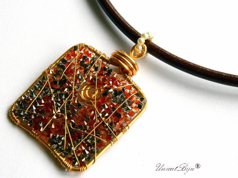 colier piele naturala, pandantiv statement, cristale swarovski, perle, wire wrap free form, bijuterii fantezie, orange aurit, unicatbiju