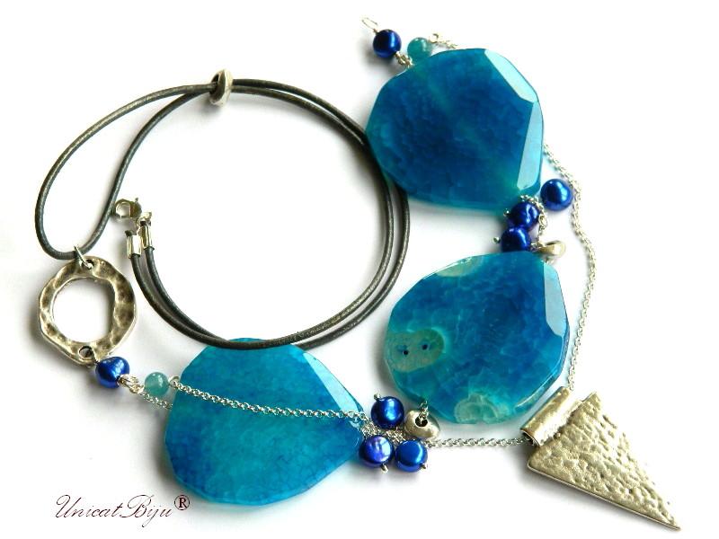 colier statement, agat albastru masiv, insertii cuart stanca, perle albastre, sidef natural, unicatbiju