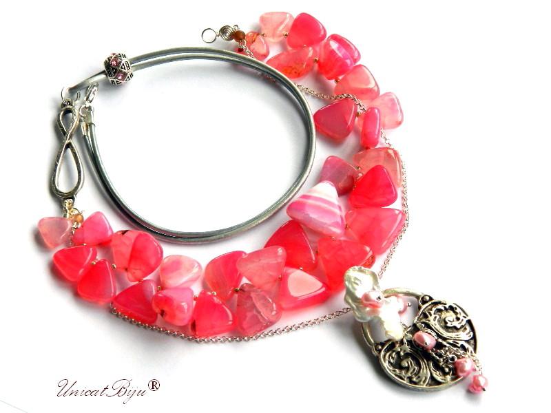 colier statement, agat roz masiv, bijuterii semipretioase unicat, perle keishi, lacat argintat, unicatbiju