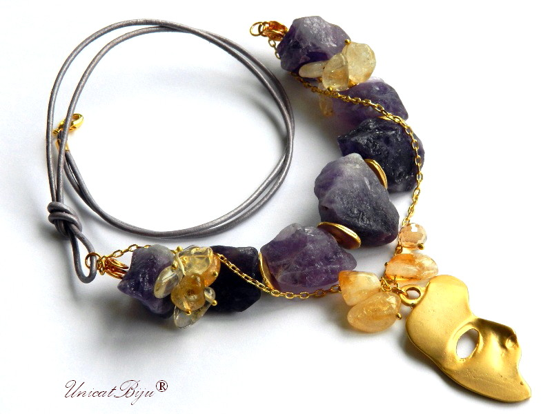 colier statement, ametist brut, citrin, masca venetiana aurita, bijuterii semipretioase unicat, cristal, unicatbiju