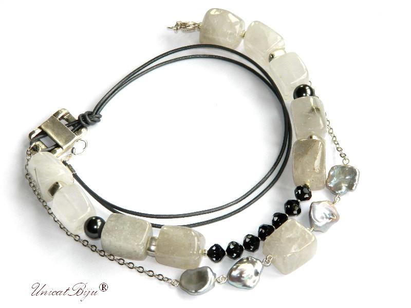 colier statement, cuart stanca masiv, bijuterii semipretioase, cristale swarovski, perle keishi, unicatbiju