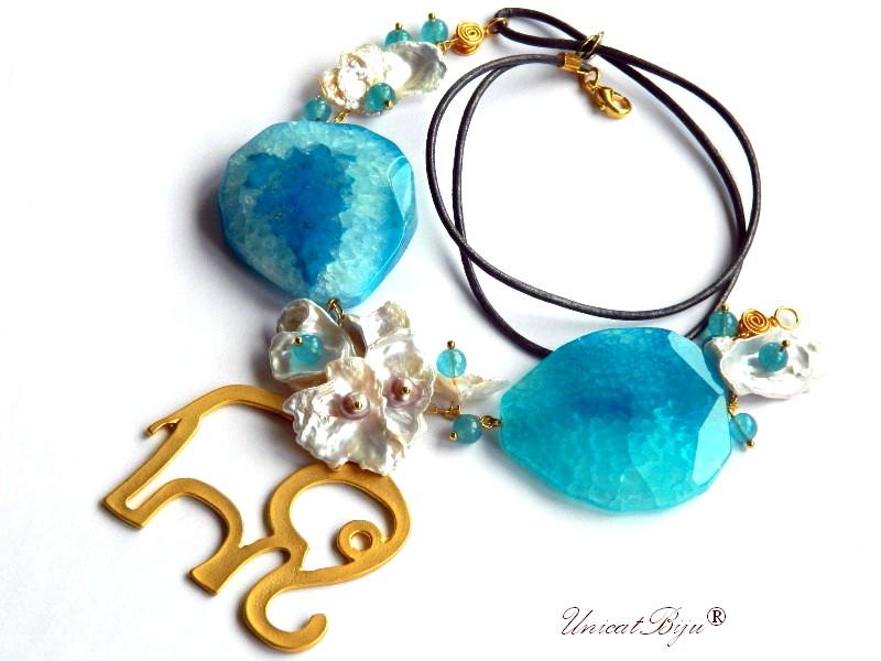 colier statement, elefant aurit, feng shui, bijuterii semipretioase unicat, perle keishi, angelit, unicatbiju, agat albastru masiv