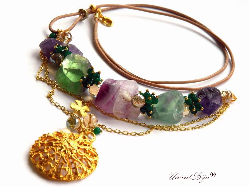 colier statement, flourit masiv brut, bijuterii semipretioase unicat, smarald radacina, cristale, trifoi aurit, unicatbiju