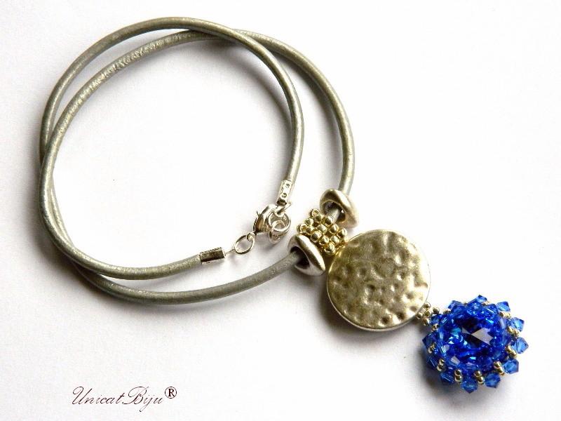 colier statement, pandantiv cristal swarovski masiv, piele naturala, bijuterii fantezie unicat, albastru, unicatbiju