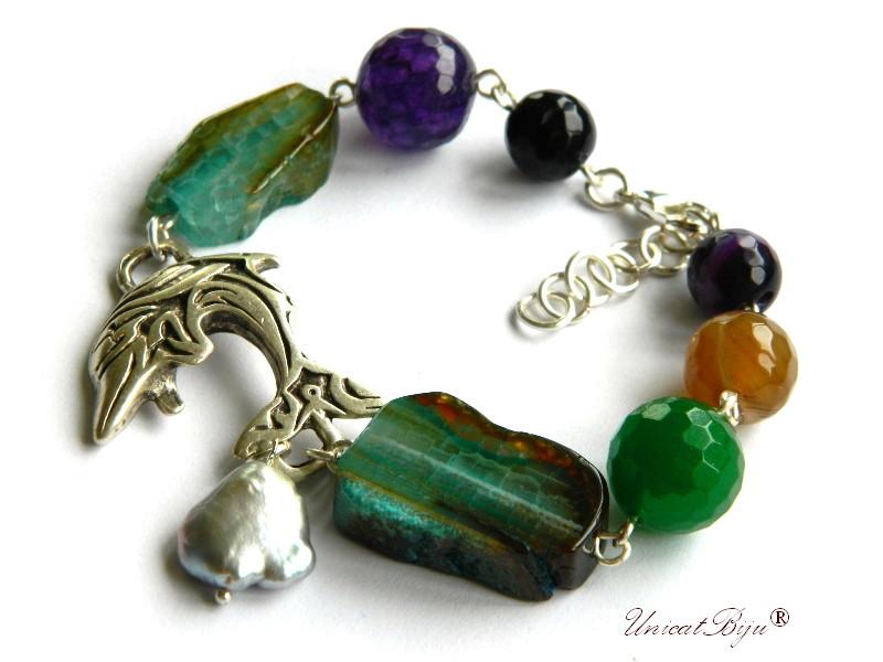 bratara statement, delfin argintat, semipretioase, jad multicolor, agat masiv, perle keishi, unicatbiju
