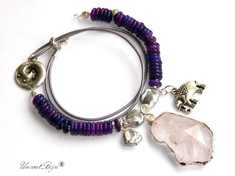 colier jad mov, bijuterii semipretioase unicat, elefantel argintat, pandantiv cuart roz masiv, perle keishi, unicatbiju