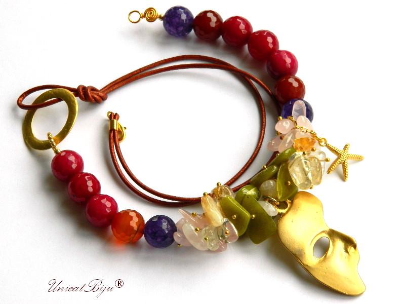 colier jad multicolor, bijuterii semipretioase unicat, citrin, cuart roz, ametist, jad canadian, stea de mare aurita, unicatbiju