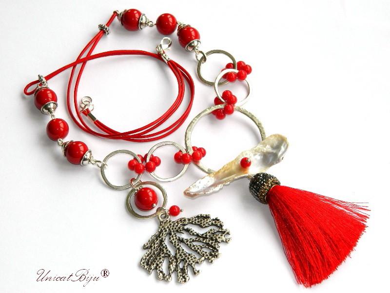 colier statement, bijuterii semipretioase unicat, coral rosu, perle mallorca, perle keishi, unicatbiju