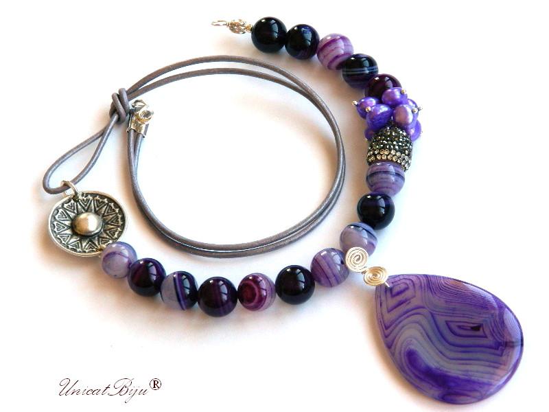 colier agat dantelat mov, bijuterii semipretioase unicat, perle mov, pandantiv agat, soare argintat, unicatbiju