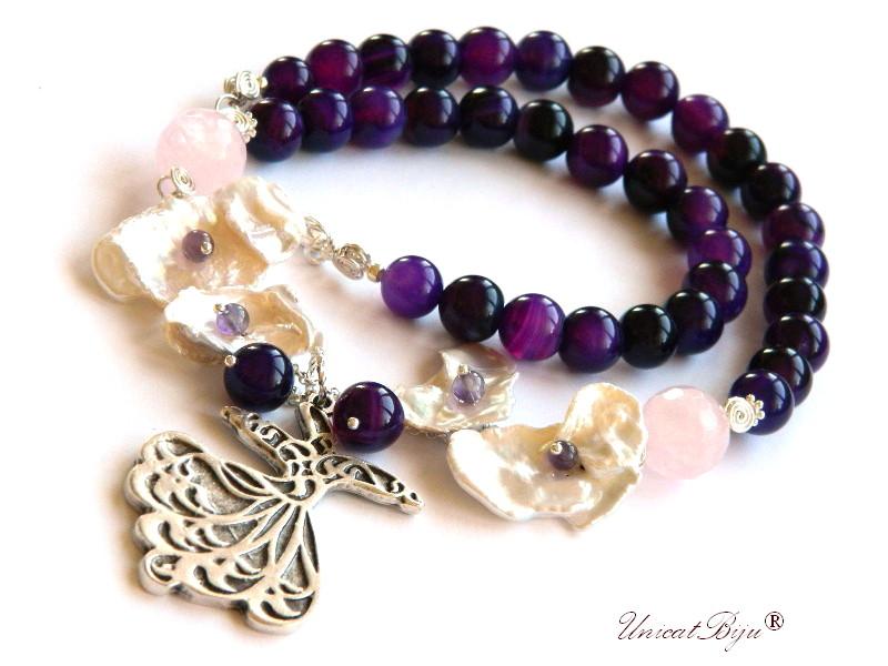 colier jad mov, bijuterii semipretioase unicat, perle keshi, dervish argintat, ametist, unicatbiju