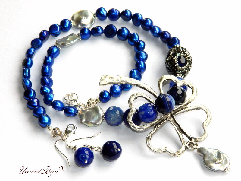 colier perle albastre, bijuterii semipretioase unicat, statement, perle keshi, trifoi argintat, agat dantelat, unicatbiju