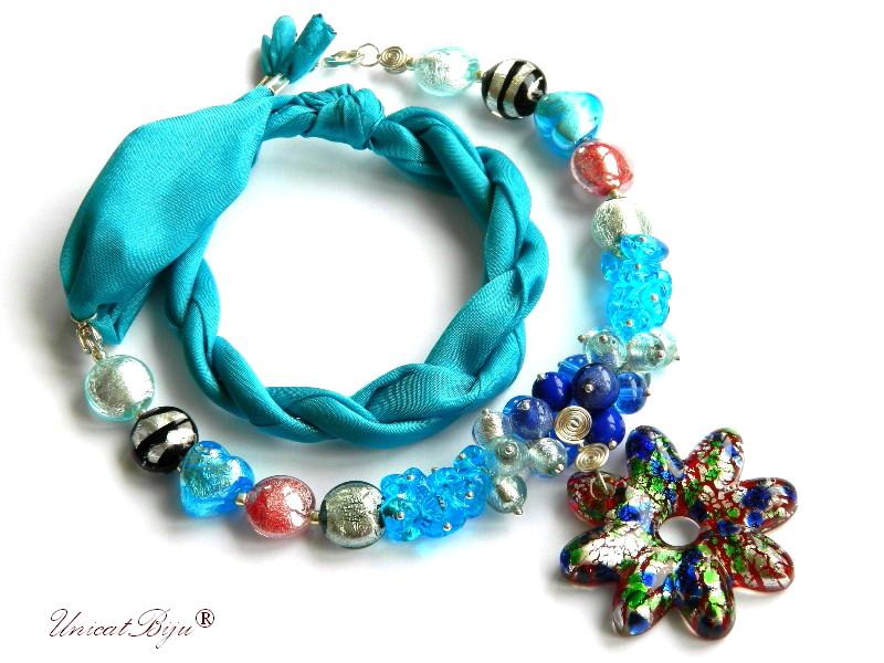 colier perle murano, bijuterii matase naturala, pandantiv murano, bleu, unicatbiju, martisor