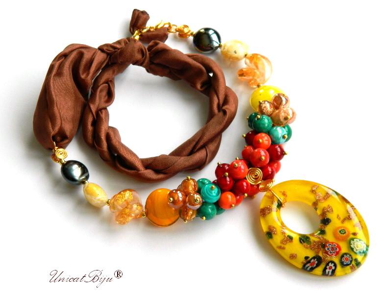 colier perle murano, bijuterii matase naturala, pandantiv murano, millefiori, galben, unicatbiju, martisor