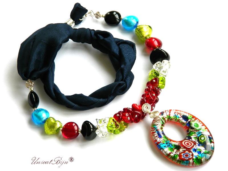 colier perle murano, bijuterii matase naturala, pandantiv murano, millefiori, multicolor, unicatbiju, martisor