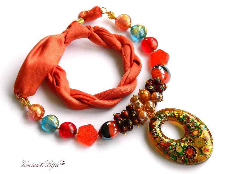 colier perle murano, bijuterii matase naturala, pandantiv murano, millefiori, orange, unicatbiju, martisor