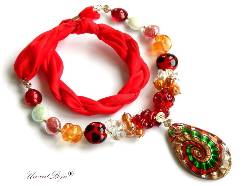 colier perle murano, bijuterii matase naturala, pandantiv murano, rosu, unicatbiju, martisor