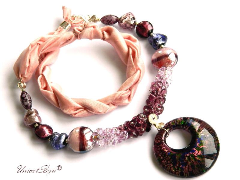 colier perle murano, bijuterii matase naturala, pandantiv murano, roz, lila, unicatbiju, martisor