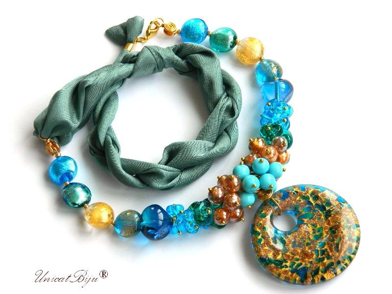 colier perle murano, bijuterii matase naturala, pandantiv murano, turcoaz, aurit, unicatbiju, martisor