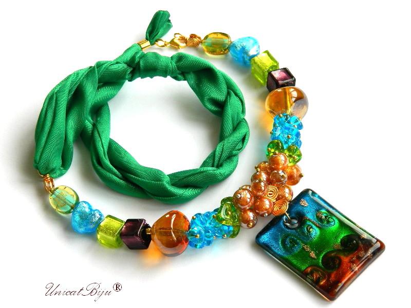 colier perle murano, bijuterii matase naturala, pandantiv murano, verde, aurit, unicatbiju, martisor