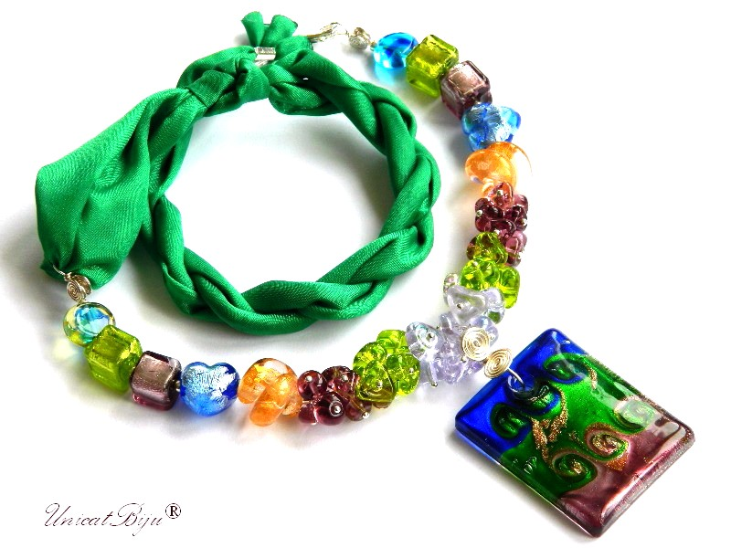 colier perle murano, bijuterii matase naturala, pandantiv murano, verde, cobalt, unicatbiju, martisor